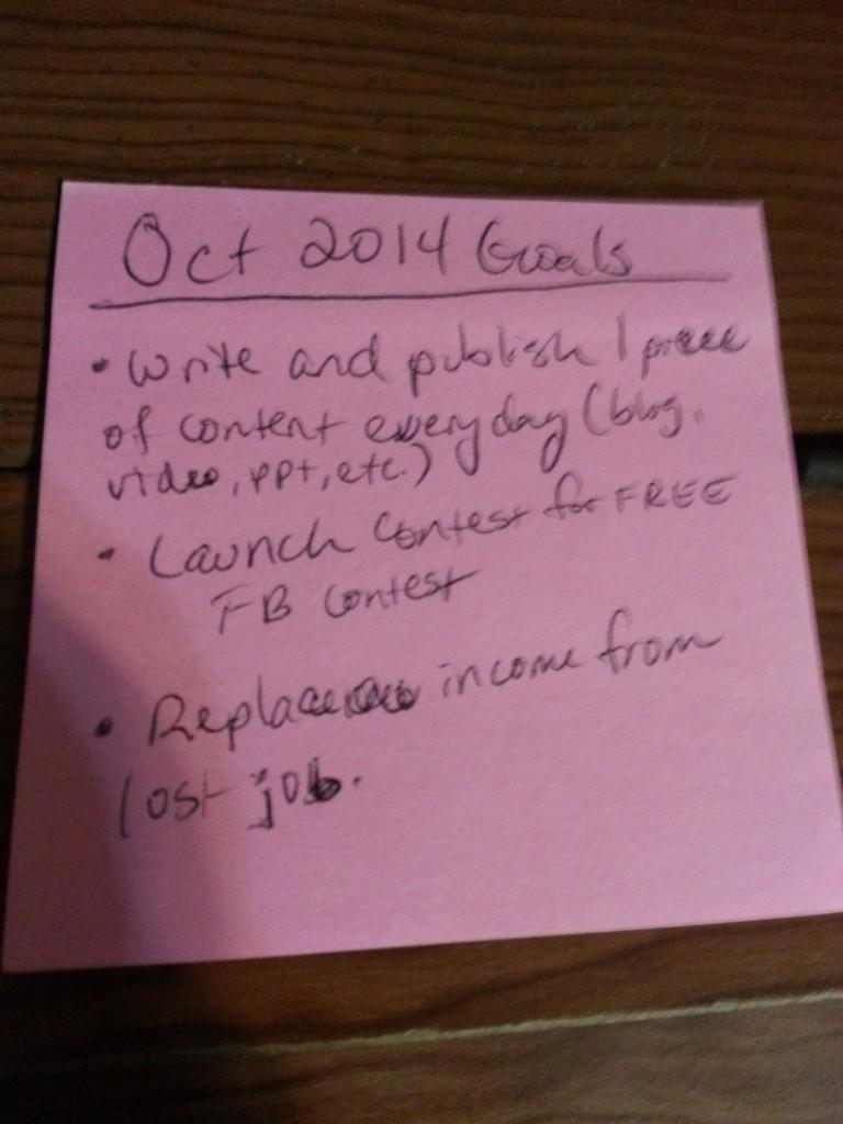 October 2014 Goals